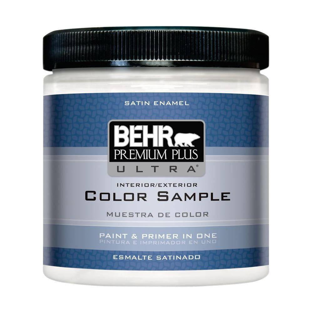 BEHR Premium Plus Ultra 8 oz. #220 Ultra Pure White Satin Enamel ...