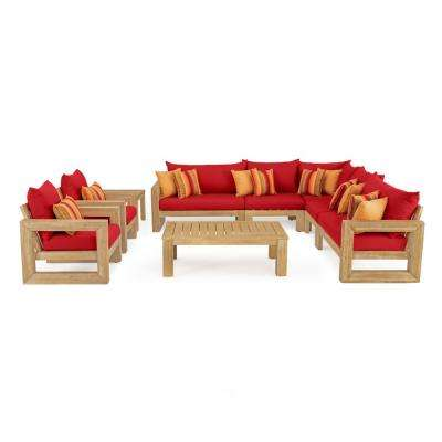 Benson 9-Piece Wood Patio Sectional Seating Set with Sunbrella Sunset Red Cushions