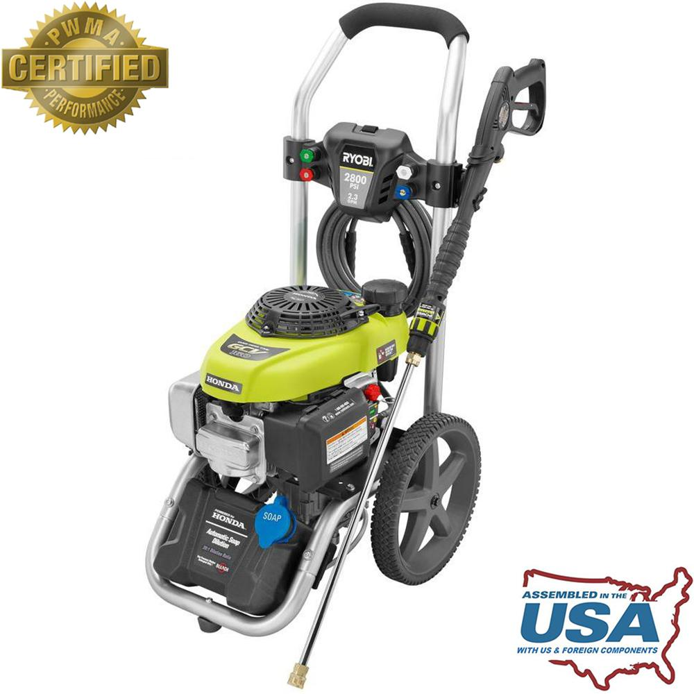 home depot pressure washers ryobi 2 800 psi 2 3 gpm honda power gas pressure 28665