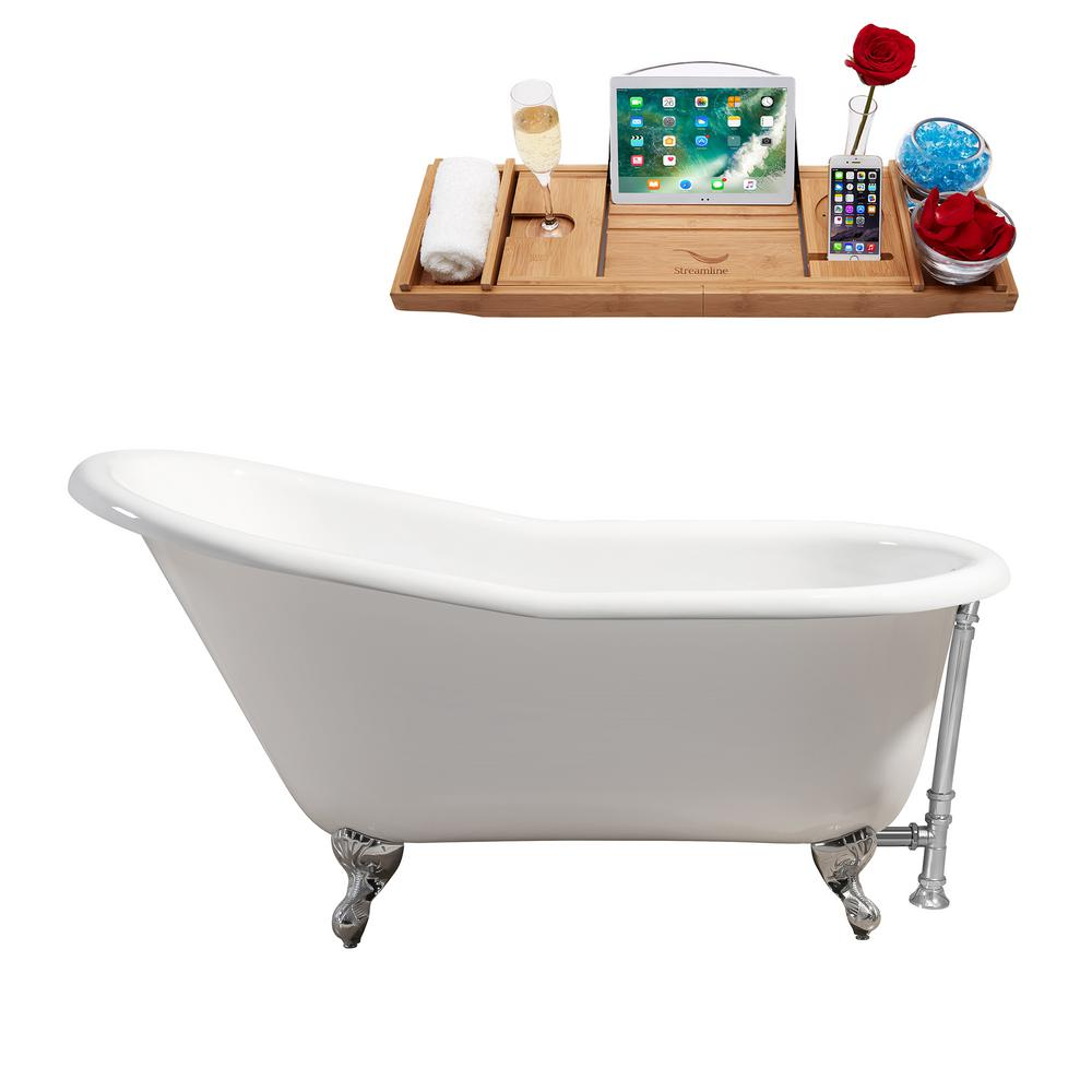 60 in. Cast Iron Clawfoot Non-Whirlpool Bathtub in White