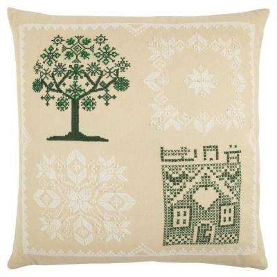 Beige Cotton 20 in. X 20 in. Decorative Filled Throw Pillow