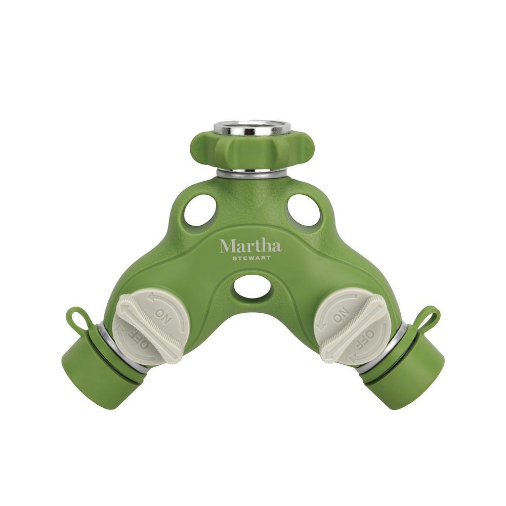 2-Way Metal Garden Hose Tap Adapter Y-Splitter