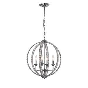 Amadeus 19 in. 4-Light Indoor Chrome Pendant Chandelier