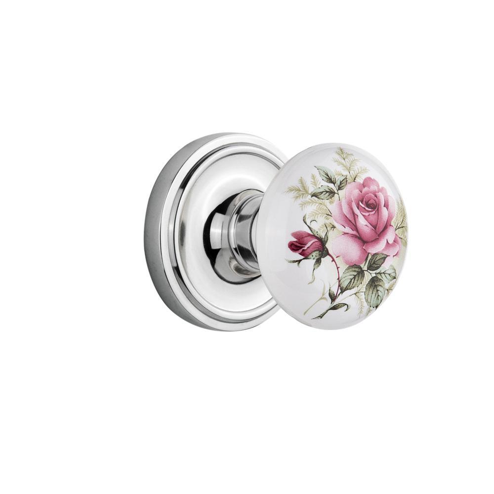 Classic Rosette Single Dummy White Rose Porcelain Door Knob in Bright Chrome