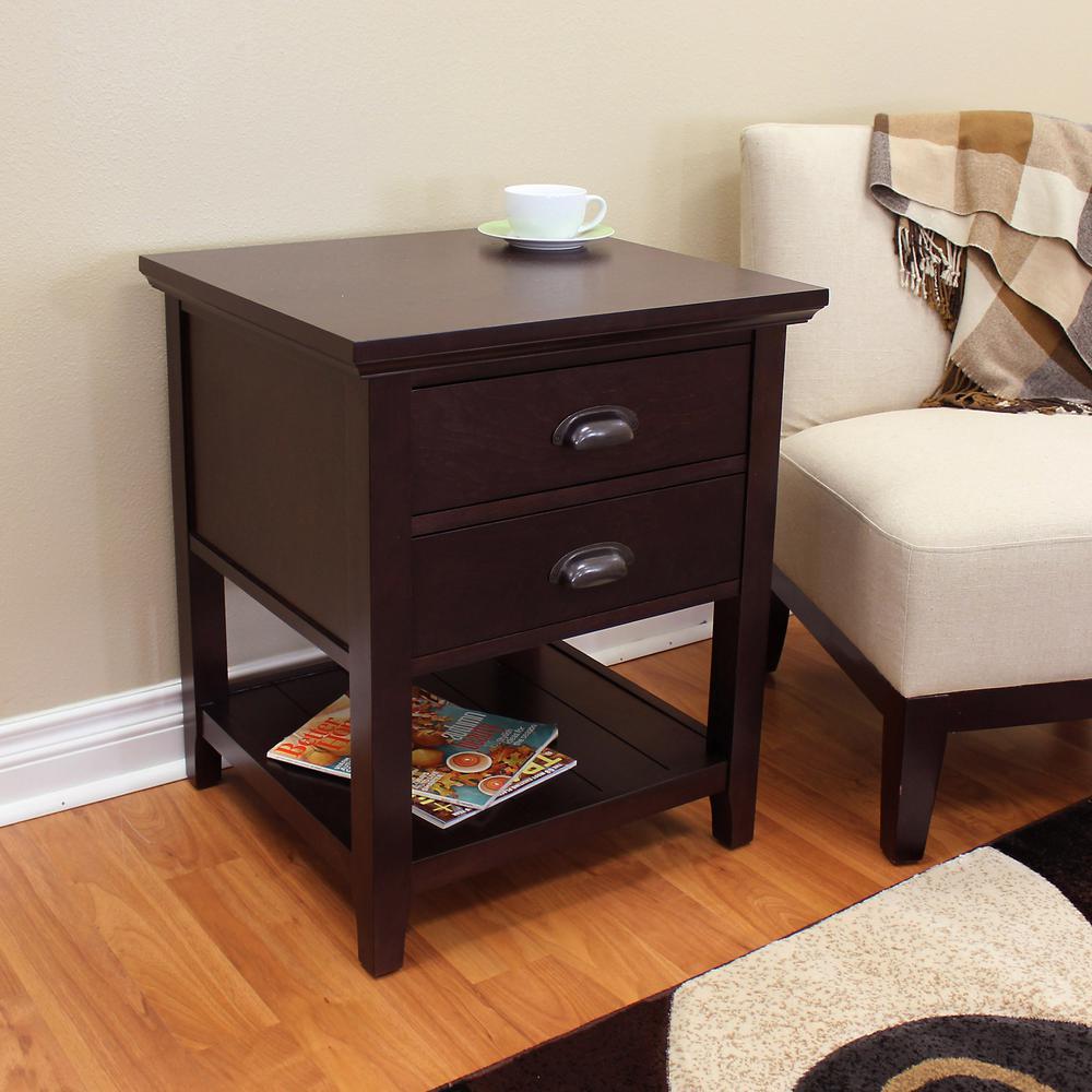 Lindendale 2-Drawer Espresso End Table