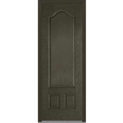 36 in. x 96 in. Right-Hand Inswing 3-Panel Archtop Classic Stained Fiberglass Oak Prehung Front Door