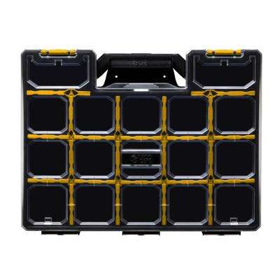 17-Compartment Wall Mount Pro-Go Divided Small Parts Organizer, Yellow