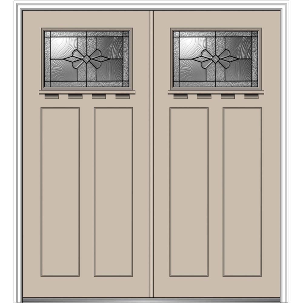 64 in. x 80 in. Dahlia Left-Hand Inswing 1/4-Lite Decorative Painted Fiberglass Smooth Prehung Front Door with Shelf