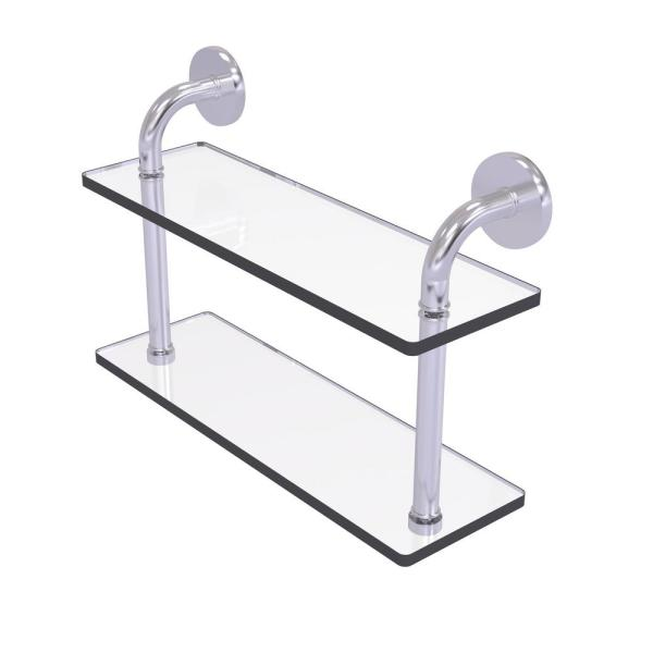 Allied Brass Remi Collection 16 In 2 Tiered Glass Shelf In Satin Chrome Rm 2 16 Sch The Home Depot