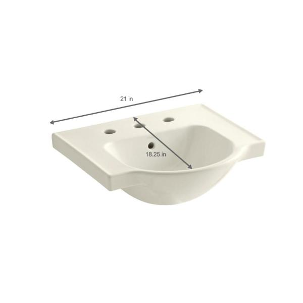 Kohler Veer 21 In Vitreous China Pedestal Sink Basin In Biscuit With Overflow Drain K 5247 8 96 The Home Depot