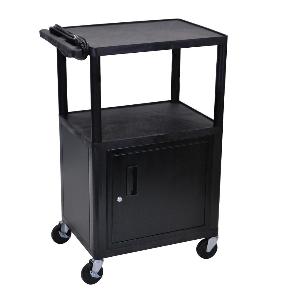 luxor LP 24 in. A/V Cart with Cabinet in Black