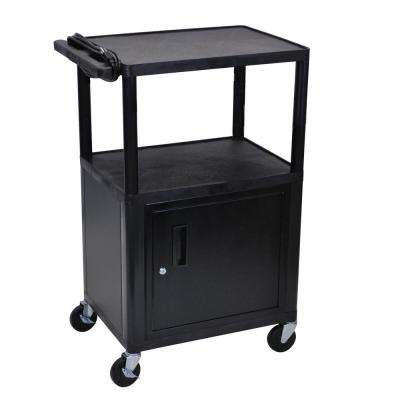 LP 24 in. A/V Cart with Cabinet in Black