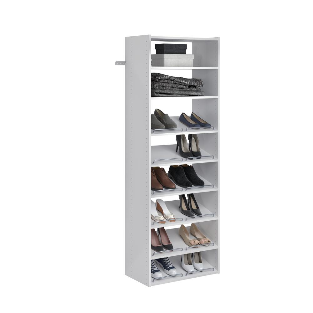 Closet Evolution Essential Shoe 25 in. W Classic White Wood Closet Tower