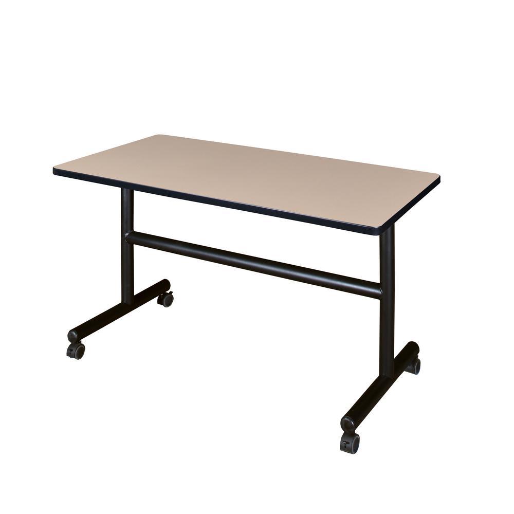 Kobe Beige 48 in. W x 30 in. D Flip Top Mobile Training Table