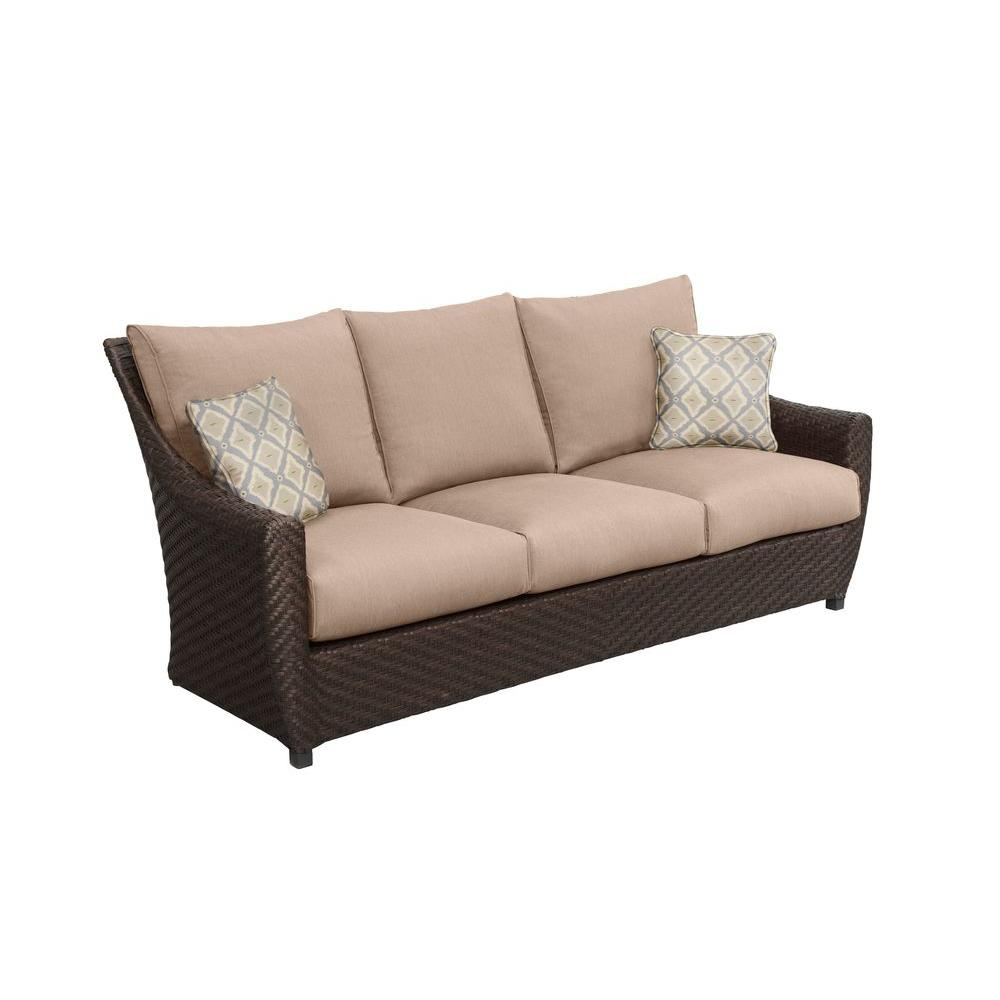 Luxury Outdoor Furniture Brands. Customer Reviews. Brown Jordan Highland  Patio Sofa With Denim Cushions And Terrace