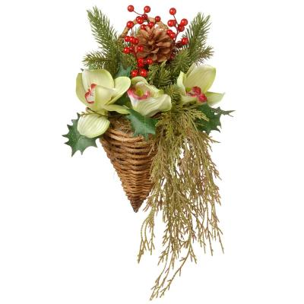 11 in. Cymbidium Flower Wall Basket