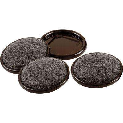 2-1/2 in. Metal Furniture Cups with Carpet Base (4 per Pack)