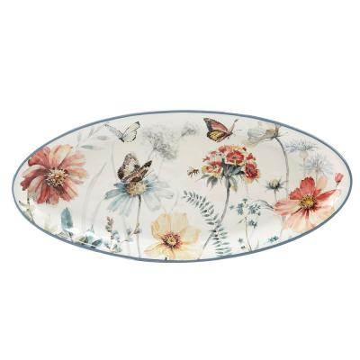 Country Weekend Multi-Colored 19.75 in. x 9 in. Ceramic Oval Platter