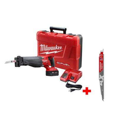 M18 FUEL 18-Volt Lithium-Ion Brushless Cordless Sawzall Reciprocating Saw Kit with Carbide Teeth The AX SAWZALL Blade