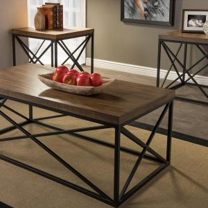 Holden 3 Piece Medium Brown Wood Finished Table Set