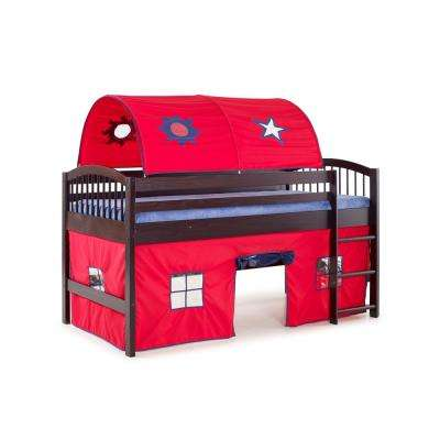 Addison Junior Loft Bed Espresso Finish with Red Tent and Playhouse with Blue Trim