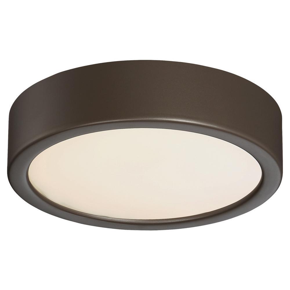 40-Watt Equivalent Painted Copper Bronze Patina Integrated LED Flush Mount