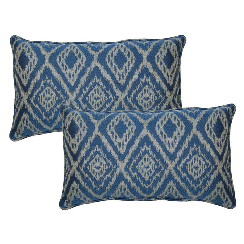 Hampton Bay Ikat Spa Outdoor Lumbar Pillow With Welt (2 Pack)