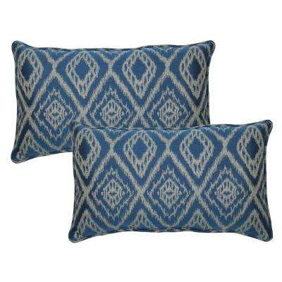 Ikat Spa Outdoor Lumbar Pillow with Welt (2-Pack)