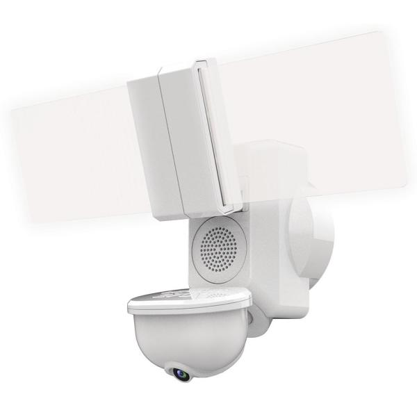 Video Wi-Fi Connected White Wired EdgeLit Motion Activated Outdoor Security Integrated LED Flood Light 2000 Lumens