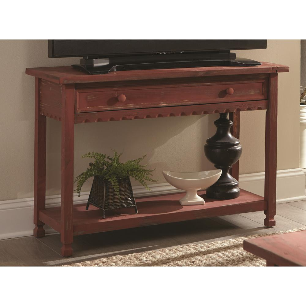 Alaterre Furniture Country Cottage Red Antique Media/Console Table