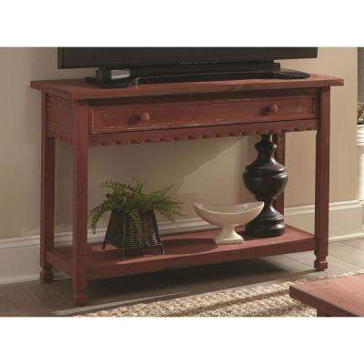 Country Cottage Red Antique Media/Console Table