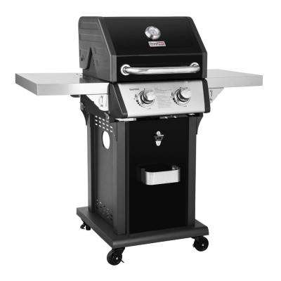 Deluxe 2-Burner Patio Propane Gas Grill in Black with Folding Side Tables
