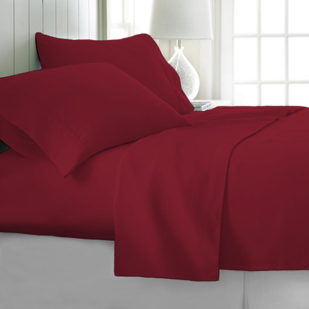 4 Piece Burgundy Ultra Soft 1800 Series Bamboo Bed Sheets