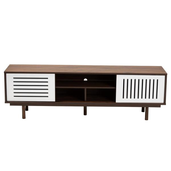 Meike 63 in. Walnut and White Wood TV Stand Fits 70 in. TV