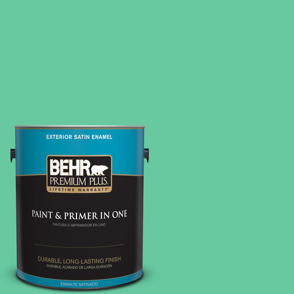 1-gal. #470B-4 Intense Jade Satin Enamel Exterior Paint