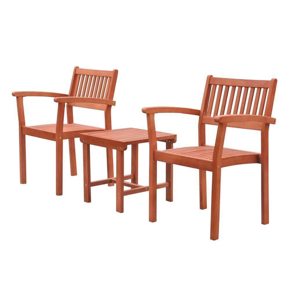 Malibu 3-Piece Wood Outdoor Dining Set