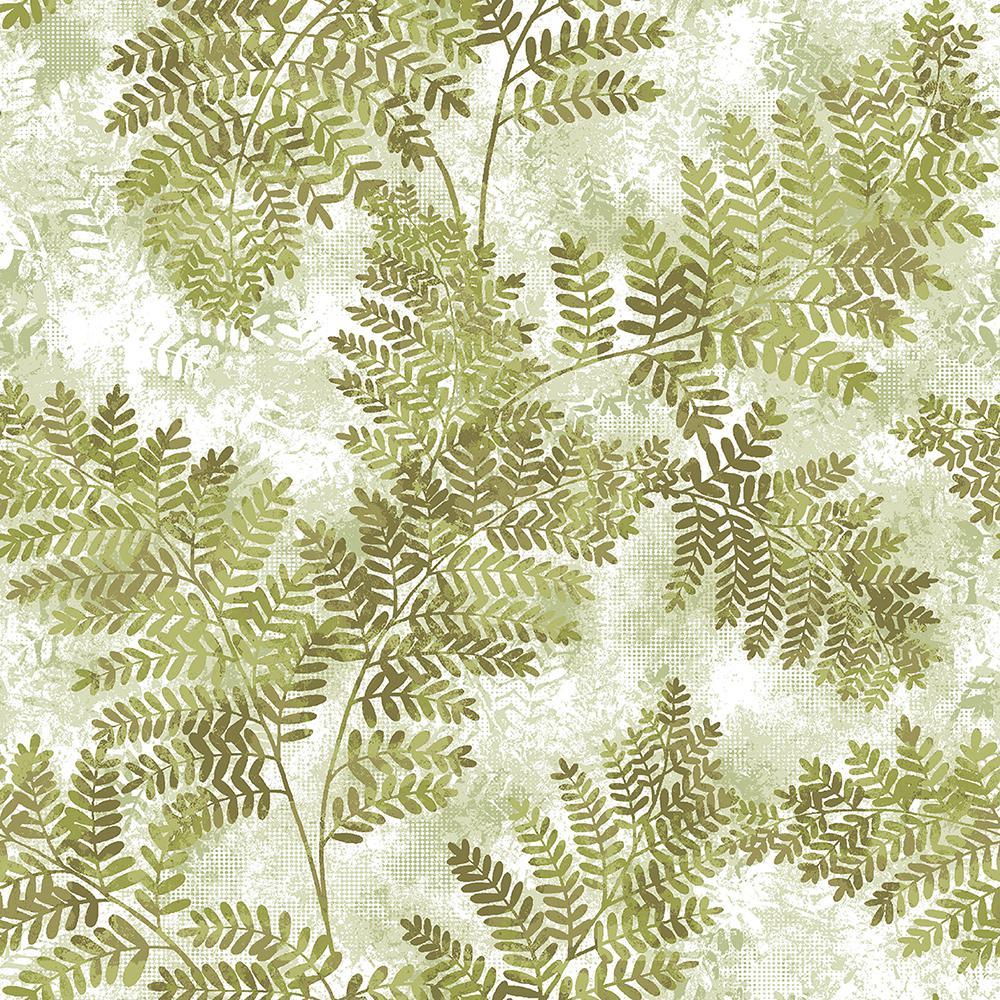 Advantage 8 in. x 10 in. Cyathea Light Green Fern Wallpaper