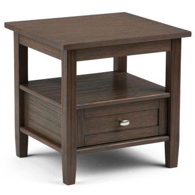 Warm Shaker Solid Wood 20 in. Wide Rustic End Side Table in Farmhouse Brown