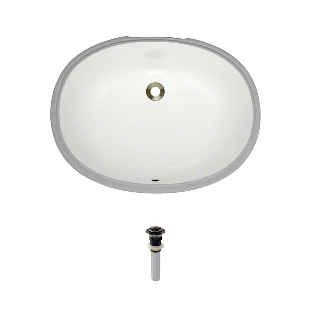 Under-Mount Porcelain Bathroom Sink in Biscuit with Pop-Up Drain in Antique Bronze