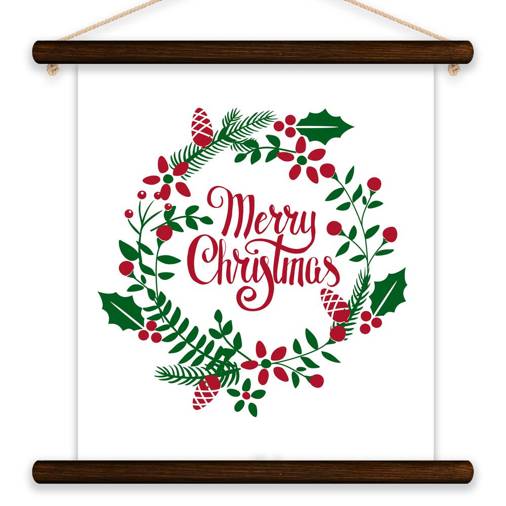 Christmas Designs.Merry Christmas Wreath By Lot26 Studio Printed Canvas Wall Art