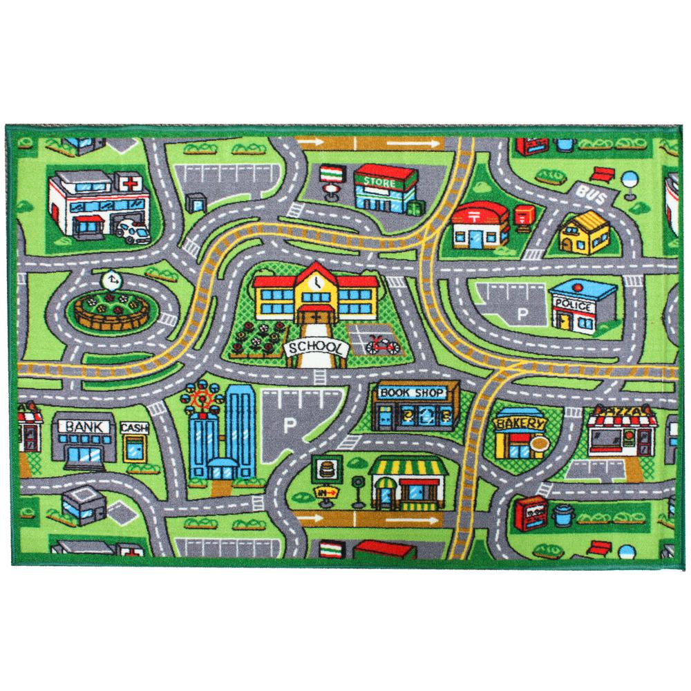 J And M Home Fashions Street Map Multi Color 3 Ft X 5 Ft Kids Play