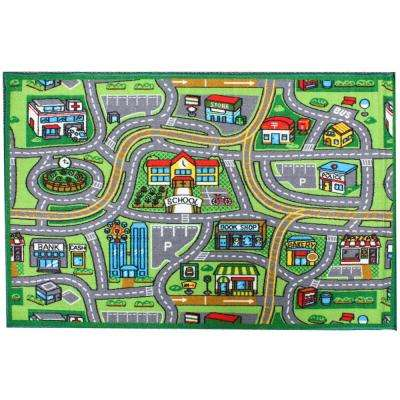 Street Map Multi-Color 3 ft. x 5 ft. Kids Play Area Rug
