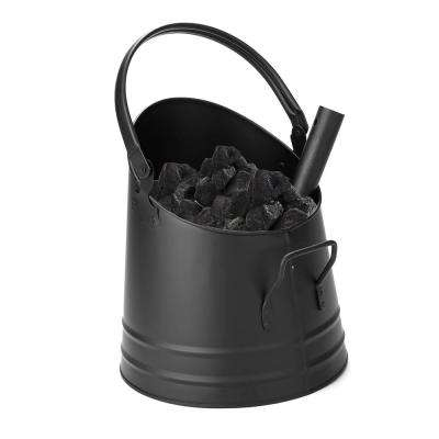 Large Fire Place Ash Bucket, Pellet Bucket with Shovel, Black