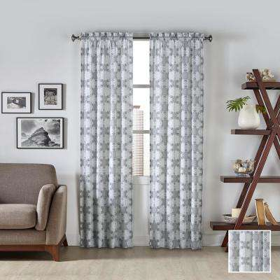 Kesey 84 in. L Polyester Rod Pocket Drapery Panel Pair in Grey