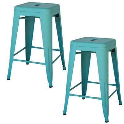 Loft Style 24 in. Teal Stackable Metal Bar Stool (Set of 2)