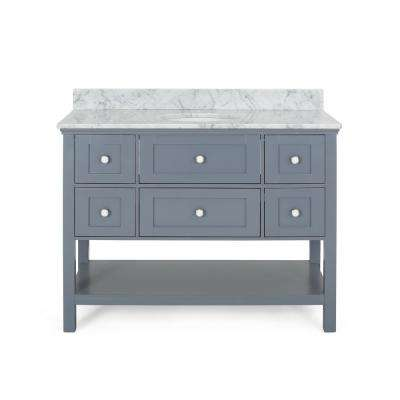 Dawson 48 in. W x 22 in. D Bath Vanity with Carrara Marble Vanity Top in Grey with White Basin