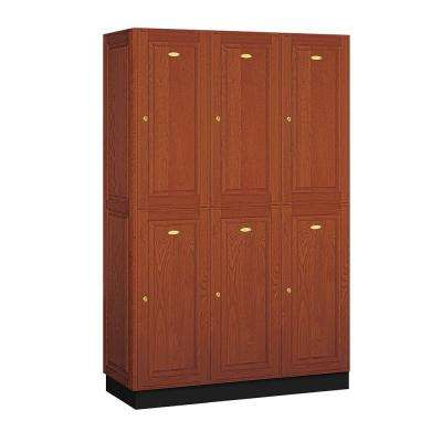 12000 Series 48 in. W x 76 in. H x 18 in. D 2-Tier Solid Oak Executive Locker in Medium Oak