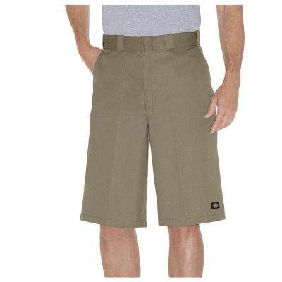 Men's Khaki 13 in. Loose Fit Multi-Use Pocket Work Short