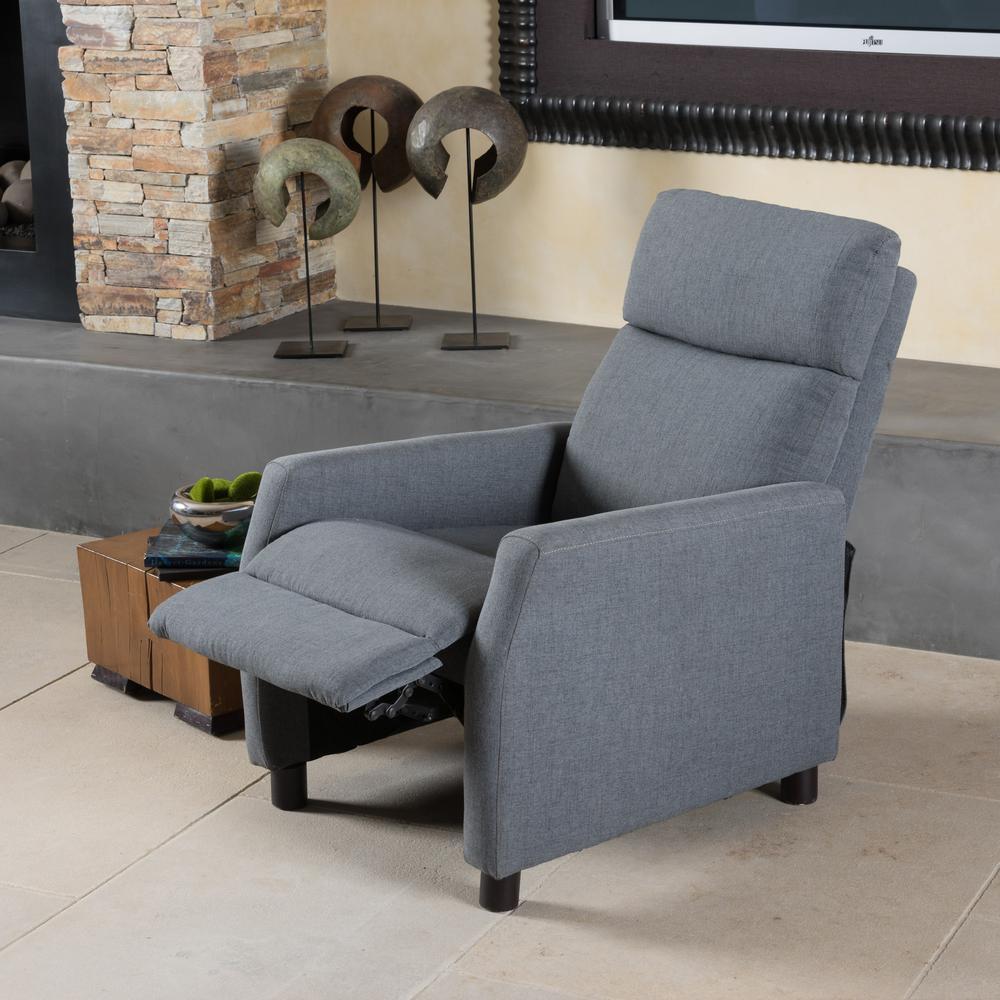 Sensational Noble House Tabahri Grey Fabric Recliner 7564 The Home Depot Machost Co Dining Chair Design Ideas Machostcouk