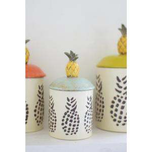 6 Piece Ceramic Pineapple Canisters Set Of 3